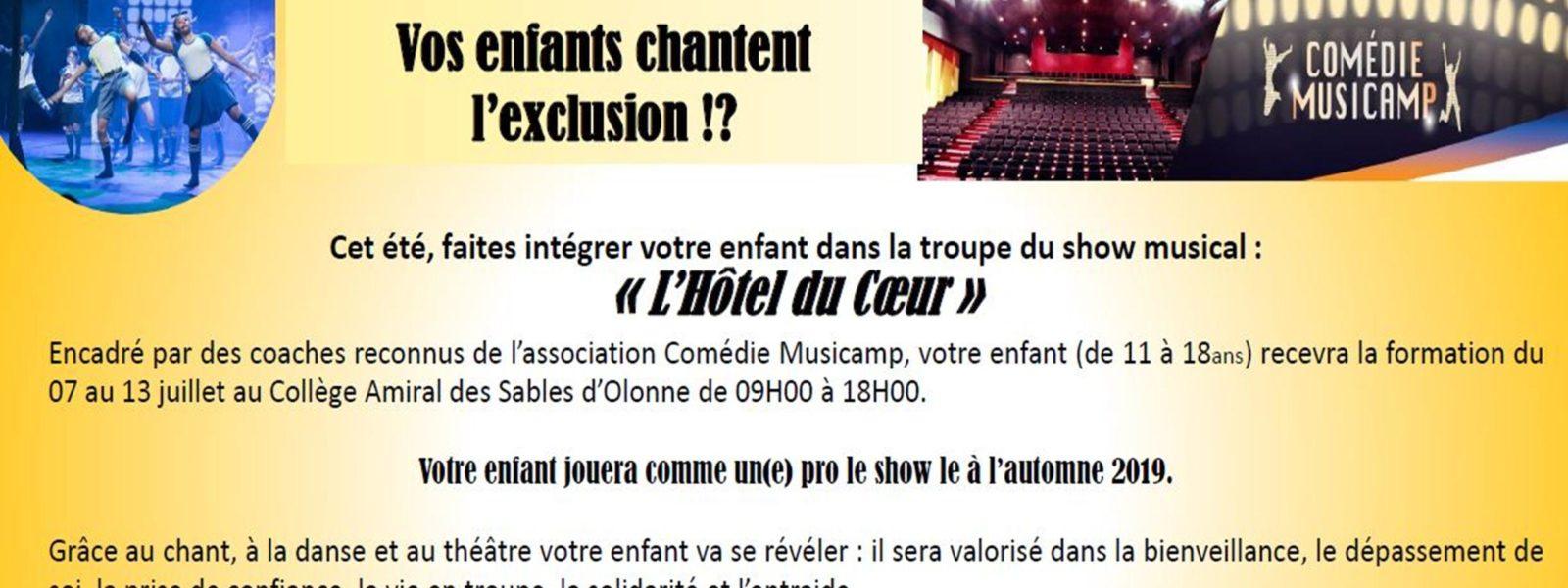 Le Comédie Musicamp de retour en Vendée